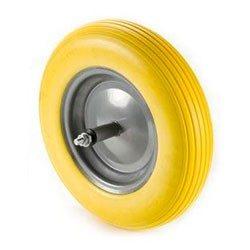 Kolo za samokolnico- polna guma (črna/rumena) komplet z osjo; drsni ležaj 4999