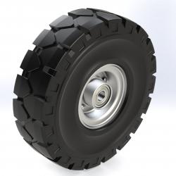 Kolo črna elastična guma za težje obremenitve 604; 250x84mm (3.00-4), kroglični ležaj